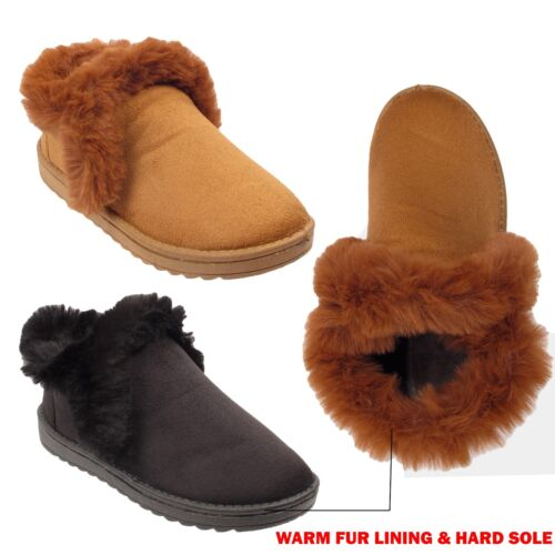 LADIES WOMEN FAUX FUR LINED  SLIPPERS SNUG ANKLE BOOTS WINTER WARM SHOES SIZES