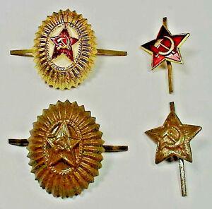 Original-Soviet-Russian-Army-Hat-Cap-Beret-Badges-x-4-USSR-Military-Insignia