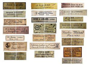 V111 Old Vintage Antique Violin Fiddle Maker Set of 21 Labels NICE!