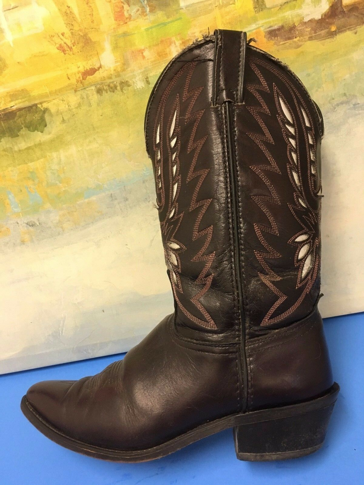 Laredo MENS Brown Leather Western Roping Cowboy Boots. size 9.5 D