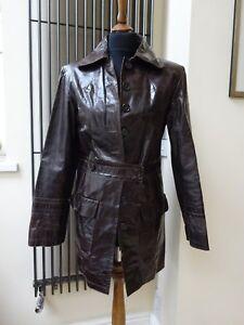 S Donna Jacket Trench Vera pelle Marrone lucida Designer Taglia wRxq8HP8