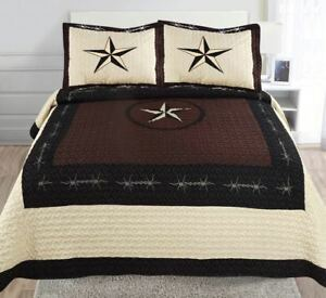 Texas Rustic Rodeo Horse Star Western Quilt Bedspread Comforter Shams 3Pc Set!