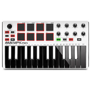 Akai-MPK-Mini-MKII-MK2-25-Key-Compact-USB-MIDI-Keyboard-MPC-Pad-Controller-White