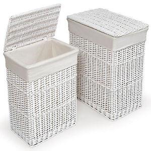 Image Is Loading Large White Wicker Rectangular Laundry Basket W Fabric