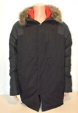 Mens MICHAEL JORDAN Winter Down Jacket Coat Black Removable Fur Hood Sz XL MINT