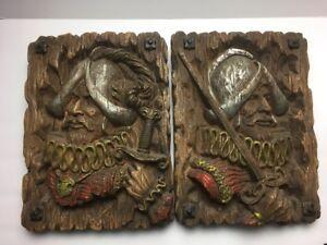 Lot-of-2-vintage-Musketeer-12-x-15-HOMCO-resin-wall-art-fake-wood-1960-70s