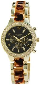 Excellanc-Damenuhr-Anthrazit-Braun-Gold-Chrono-Look-Analog-Metall-X152007000048