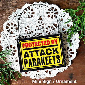 PARAKEETS-Theme-Wood-Ornament-Mini-Sign-Cage-Fun-Gag-Gift-USA-New