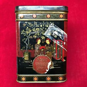 Vintage Empty Riley's Toffee Metal Tin Box Chinese Asian Geisha Black Red Gold