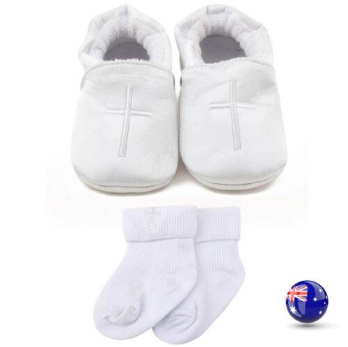 Baby Shower Boy Kid White cross Christening Wedding Party first Shoes socks set