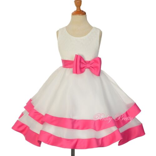 Organza Lace Bow Sash Dress Wedding Flower Girl Bridesmaid Kids Size 2-9y FG310