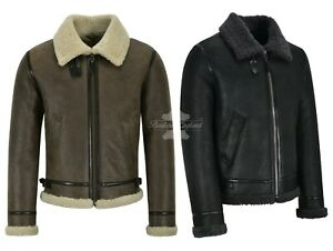 Men's B3 Air force Real Shearling Sheepskin Leather Jacket