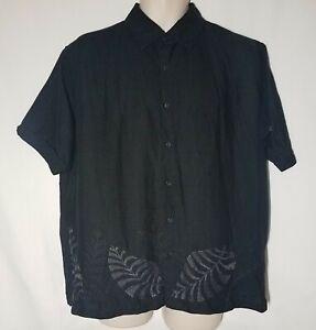 Men-039-s-Cubavera-Black-Embroidered-Floral-Camp-Cuban-Ramie-Rayon-Short-Sleeve-XL