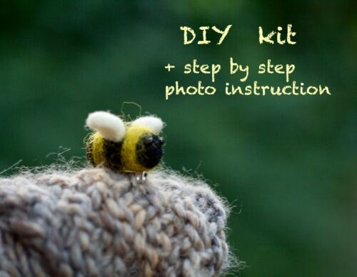 Needle Felting Kit Bumble bee brooch DIY wool felting craft kit for beginners