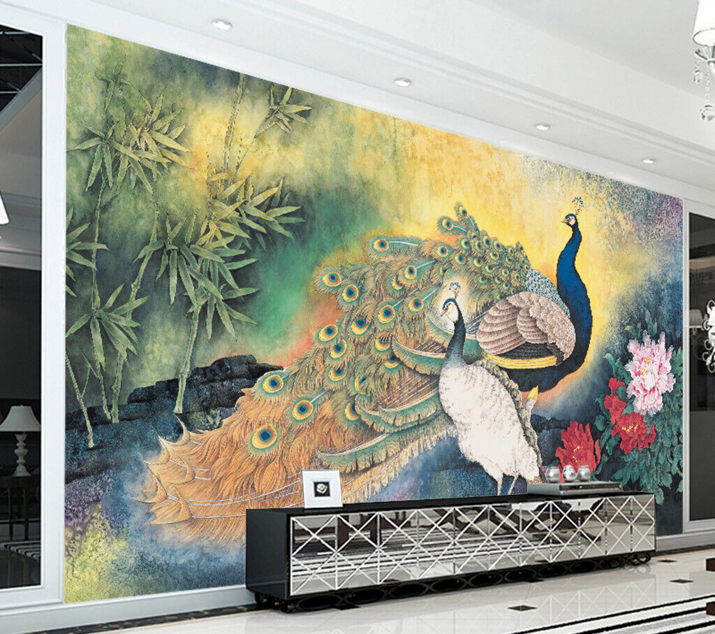 3D Peacock Bamboo I219 Wallpaper Mural Sefl-adhesive Removable Sticker Wendy