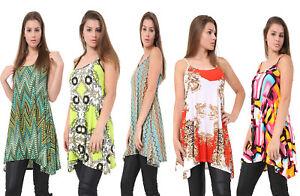 Cami-Con-Correas-Sin-Mangas-Estampado-Largo-Swing-Dress-Vest-Top-para-mujeres-mas-tamano-8-26