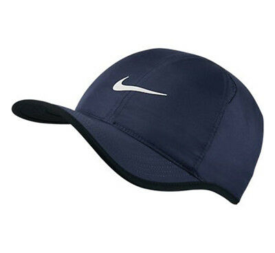 NEW NIKE Dri-Fit Feather Light Hat Cap NAVY 679421-410 ADJUSTABLE Run Tennis