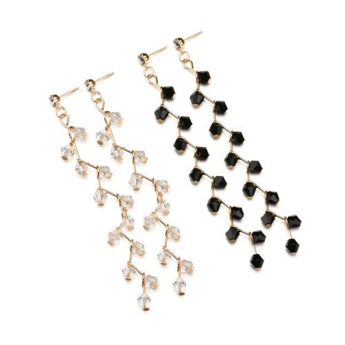 Élégant Femme plaqué or perles de cristal Tassel Dangle Ear Stud Boucles d/'oreilles Bijoux