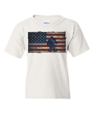 American Hockey Player Youth T-Shirt Winter Sports Hockey Stick Puck Kids Tee