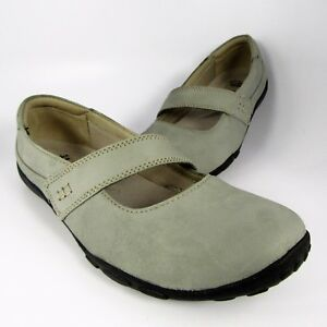 Clarks-Mary-Jane-Moccasin-Flats-Womens-Size-9M-Gray-Leather-Loafers-Slip-Ons