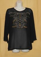 Linea Domani Women's Black Brass Silver Bead Sheer 3/4 Dress Blouse Top Ps $130