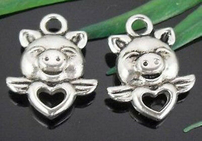 Free Ship 70Pcs Tibetan Silver Lovely Pig Charms 16x13mm