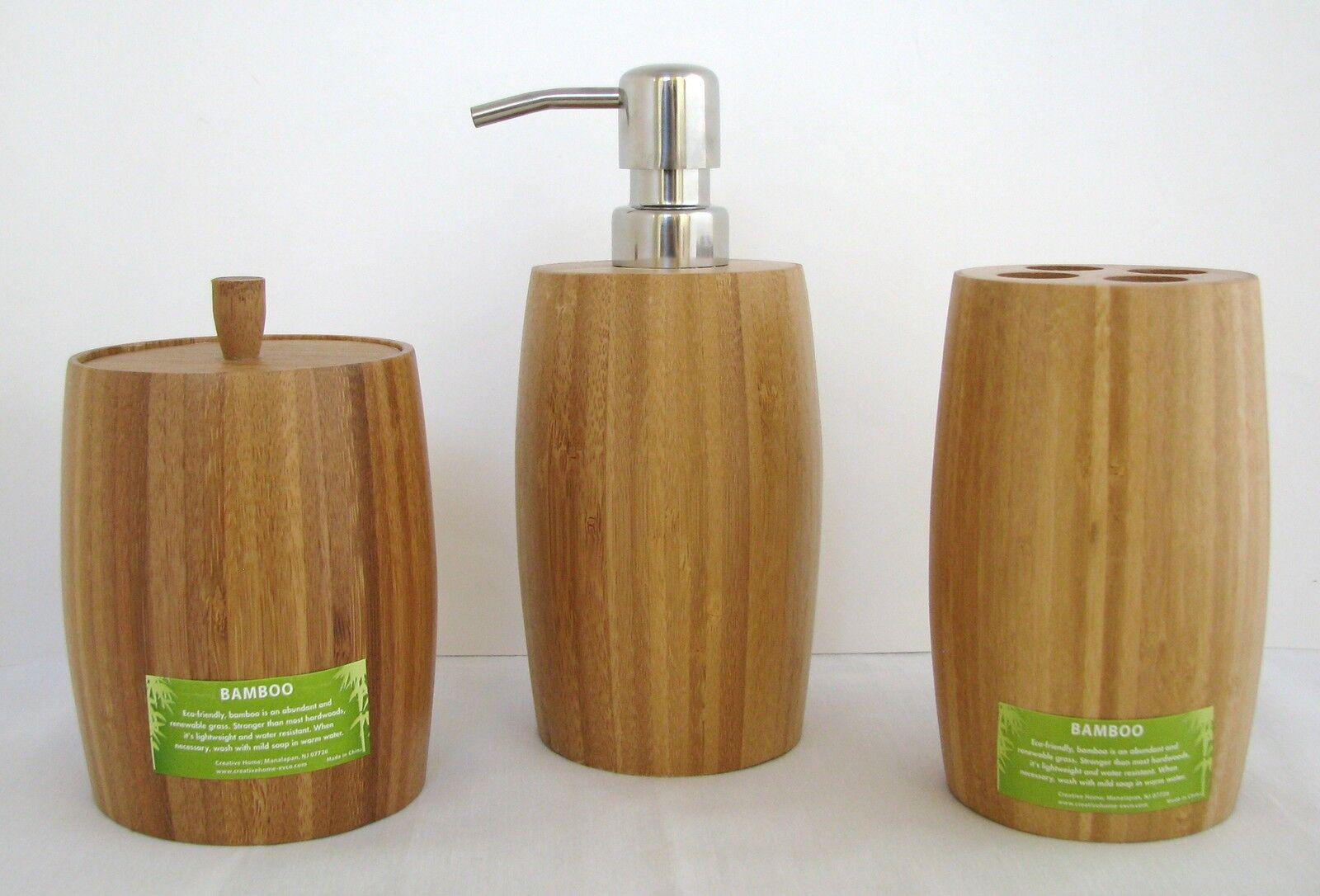 Nuevo 3pc Set Marrón Bambú Baño Dispensador Jabón + Portacepillos + Tarro W