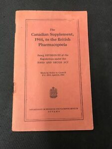 Vintage-WW2-The-Canadian-Supplement-To-The-British-Pharmacopoeia-Food-amp-Drugs
