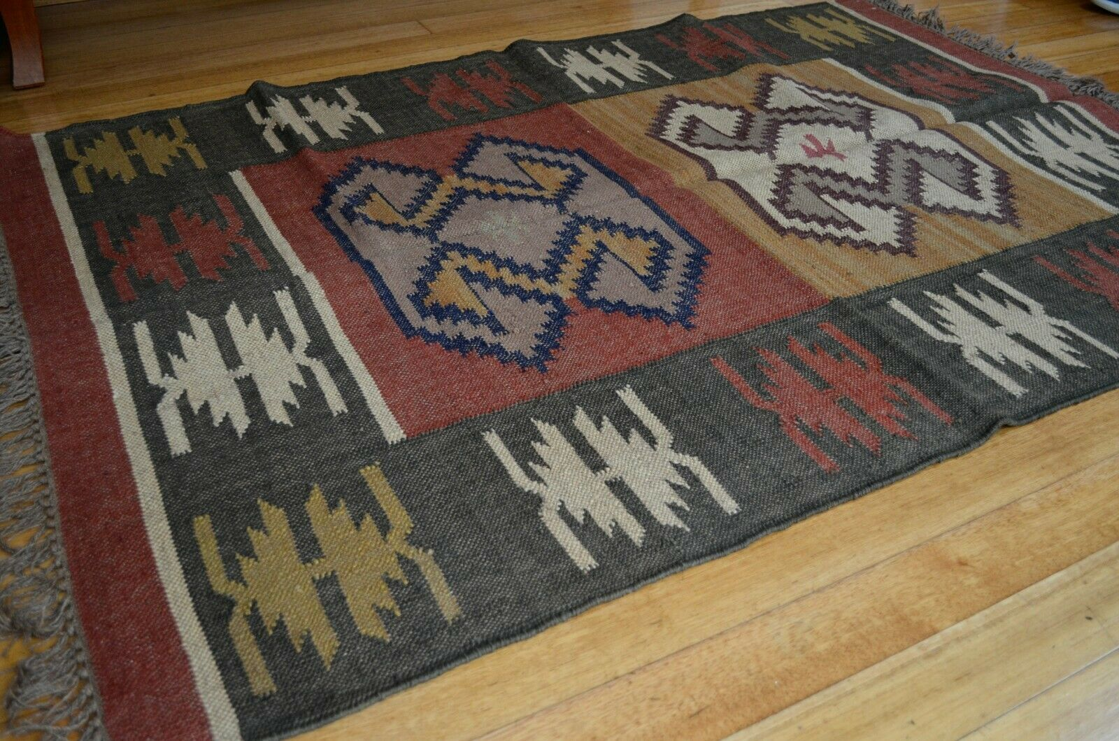 Kilim Rug Indian Jute Wool Hand Knotted Geometric 120x180cm 4x6ft KR1848