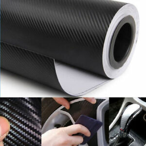Noir-12-034-X-50-034-3D-Fibre-De-Carbone-Vinyle-Voiture-A-faire-soi-meme-Wrap-SHEET-ROLL-Film