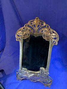 VINTAGE-ART-NOUVEAU-Style-20-034-laiton-massif-miroir-de-maquillage-femme-avec-fleurs-A743