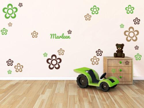Wunschname 27 FLEURS-CHAMBRE ENFANT DECO Bébé Nom Autocollant Mural