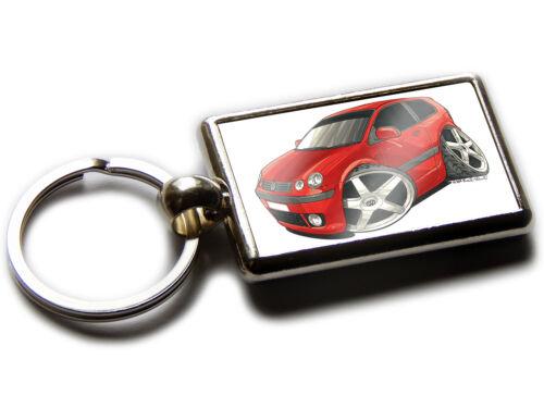 VOLKSWAGEN VW Polo Mark 4 Car Koolart Chrome Keyring Picture Both Sides