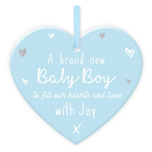 Blue A Brand new Baby Boy New Baby Mini Hanging Heart Plaque with Wording