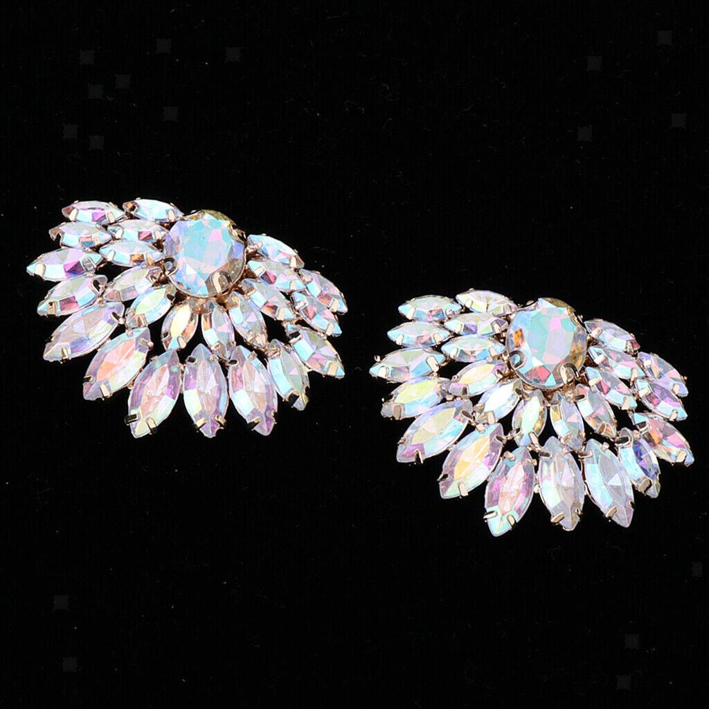 1 Pair Crystal Shoe Buckle Shoe Clip Applique for Bridal Wedding Shoe Decor C