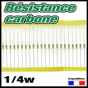 100K025#20 à 250pcs 100K ohms résistance carbone 1/4w - resistor 0,25w(100 000)