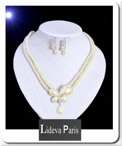 Set Perlenkette Ohrringe Kette Bettelkette Halskette Perlen Schmuckset Weiß