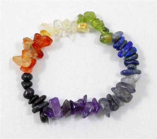7 Chakra taillée brute Pierre naturelle Yoga Guérison Quartz Crystal Stretch Bracelet