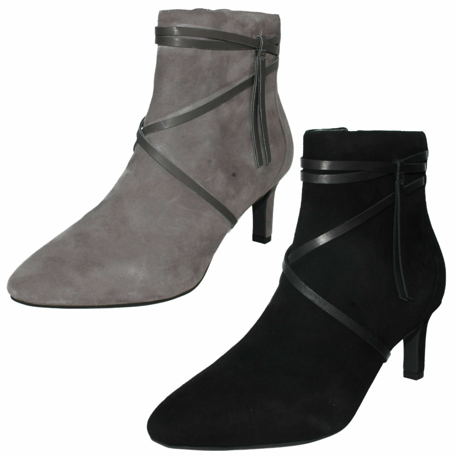 Lady Clarks Calla Aster Suede  Leather Smart Mid Heel Ankle Boo D Fitting  shopping online e negozio di moda