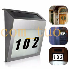 Solar LED House Number Lamp Outdoor Yard Fence Path Garden Wall Doorplate Light