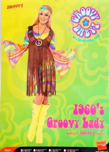 Hippie Costume Robe Groovy Lady 60er 70er Ans Fille Peace Femmes Taille S Enfants