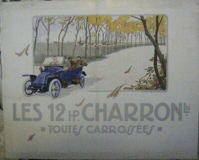 * Automobiles Charron 12 Hp Brochure Prospekt Francais Env. 1912 Original * Und Verdauung Hilft