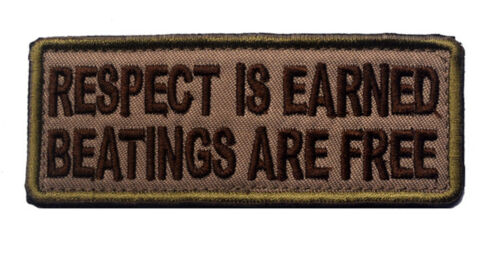 698 respect is earned ARMY MORALE BADGE TACTICAL MILITARY PATCHES PATCH  sh