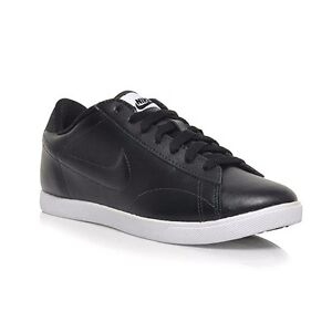 nike racquette leather women's black/white casual shoes