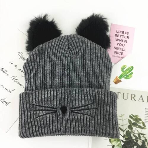 Katze Ohren Frauen Hut gestrickt Acryl warme Winter Beanie Caps häkeln niedlich