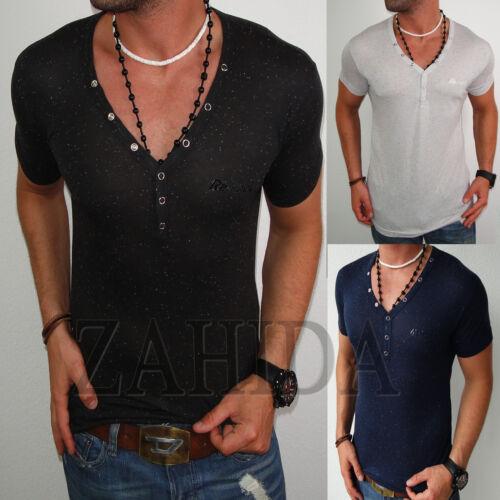 ZAHIDA Herren T-Shirt Slim-Fit Tiefer Ausschnitt Clubwear mit Elastan V-Neck NEU