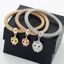 *UK* Ladies 3 set Rose Gold silver Gold charm owl bracelet bangle jewellery gift