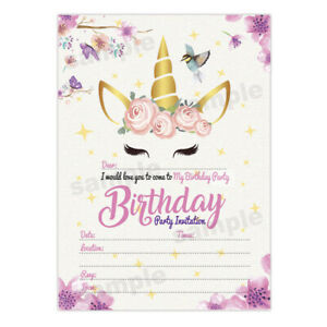 Details About Unicorn Girl Birthday Invitations Girls Party Invites Invite Cards