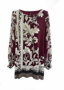 NWT-Alfani-Scoop-Neck-Long-Sleeve-Printed-Gallery-Style-Pullover-Tunic-Top