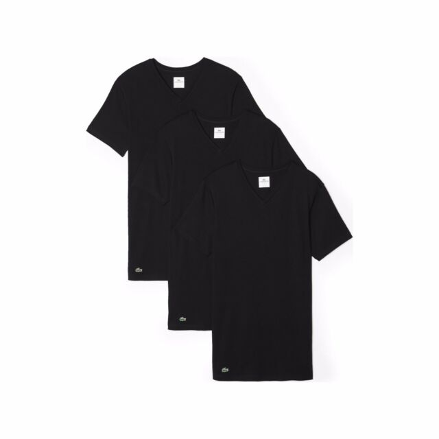 Lacoste Men s 3-pack Essentials Cotton V-neck T-shirt Black Small. About  this product. Lacoste Essentials 3 Pack Basic T-shirts V Neck ... f8952e94d877